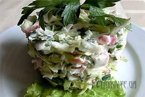 Салат з капусти з крабовими паличками